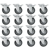 """Set of 16 Swivel Plate Casters with 5"""" Polyurethane Wheels All Brakes"""