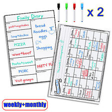 Pack of 2 Magnetic Whiteboard Memo Message Boards for fridge(Weekly+Monthly)
