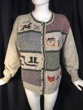 WOOLRICH Sweater Cardigan Womens Wool Blend Dog Fox Hound Sz L