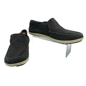 Olukai Akahai Canvas Shoes Men's Size 12 Gray Slip On Casual Textile Loafers *