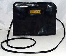 Vintage Perry Ellis America Black Faux Leather Cross Body Bag