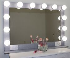 Silver Glitter XL 40 X 28 Hollywood Style Lighted Vanity Makeup Mirror
