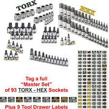 Mechanics Master Set Chrome Socket Labels - METRIC S A E TORX  Hex & Screw Drive