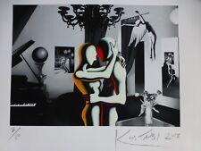 """Mark Kostabi """" Tell Me Once Again """" Signé à la Main Numéroté 2/20 Art Urbain Us"""