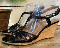 Clarks Bendables Womens Black Leather Cork Wedge Heel Sandals 32003 9M