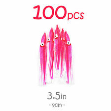 "100pcs 3.5"" 3 1/2"" Pink Squid Skirt Hoochies Rock Fish soft Lure Octopus 9cm New"