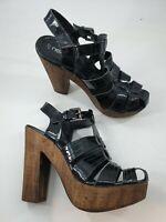 Next size 4 (37) black faux patent leather strappy platform block heel sandals