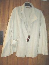 SULU  by Kerstin Bernecker 100% Linen Natural Asymmetrical Jacket size 14/16