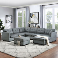 7 Seat Sectional Sofa Living Room U-Shape Upholstered Couch with Storage Ottoman