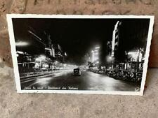 Antique RPPC Real Photo Postcard Paris Grand Boulevard at Night Old Cars France