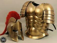 Antique Brass Finish Medieval Muscle Armour Suit Spartan Helmet Halloween Costum
