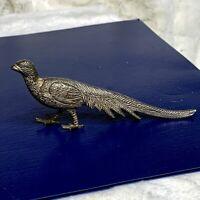 Vintage ?Antique Art Deco Style Silver Plated Pheasant Figurine Name Menu Holder