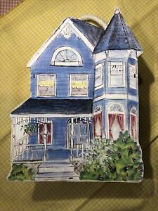 "Vintage, Blue Victorian House Wooden Bills or Mail Box 7 1/2"" X 5 3/4"""