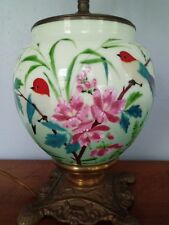FABULOUS JADITE LAMP HAND PAINTED BIRDS WITH FLOWERS
