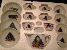 17-PC Miniature Porcelain Children's Tea Set Christmas Scenes, Trees, Toys New!