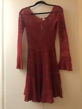 Free People Boho Macrame Crochet Red Long Sleeve Festival Dress SP- no slip