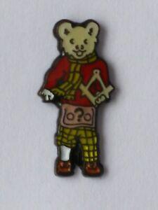 RUPERT BEAR Collectable Pin Badge * Police Masonic *  pink apron