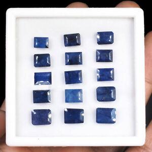 15 Pcs Natural Blue Sapphire 7mm-9mm Emerald Cut Magnificent Gemstones Lot