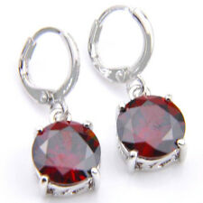 Round Natural StoneRed Fire Garnet Gems Silver Dangle Earrings