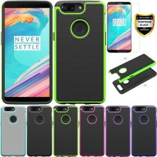 Rugged Case Shockproof Cover with Tempered Glass Screen Protector For OnePlus 5T