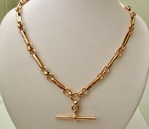 GENUINE SOLID 9K 9ct ROSE GOLD BELCHER ALBERT CHAIN NECKLACE with SWIVEL CLASPS
