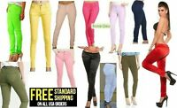 Masoi Color Junior's Women's Skinny Satin Twill Jeans Stretch Soft Cotton Pants