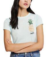 Free People Womens Top Blue Size Medium M Fruit Medley Print Tee $58- 189