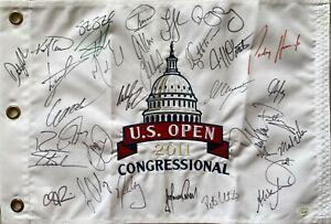 2011 US Open signed golf flag Rory McIlroy Dustin Johnson Adam Scott Day +27 JSA