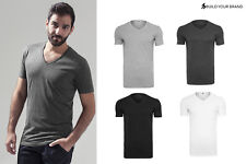 Build Your Brand Light V Neck T-Shirt BY006-Adults Short Sleeve Plain Slim Fit T