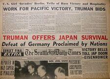 GERMAN SURRENDER JAPAN SURVIVAL OFFER  5 - May 8 1945 HITLER BODY FOUND PRAGUE
