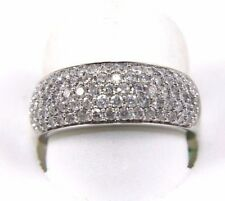 Round Diamond Pave Cluster Lady's Cigar Ring Band 14k White Gold 1.40Ct