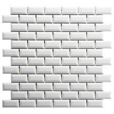 Metro White Brick Gloss Mosaic Wall Tiles 30 x 30