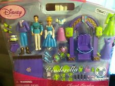 Disney Store Princess Cinderella & Prince Secret Garden Polly Pocket dolls NEW