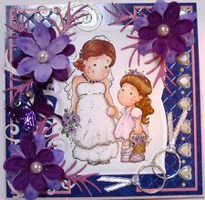 MAGNOLIA TILDA - BRIDE and FLOWER GIRL - WEDDING - EASEL handmade card By DEE