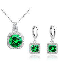 Green Zircon Square Jewellery Set Drop Hoop Earrings Pendant Necklace S885