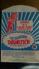 Vintage Drumstick Sundae Cone Bag Blue Ribbon Ice Cream Noblesville IN Free Ship