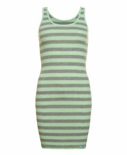 New Womens Superdry Factory Second Orange Sewn Fluro Stripe Vest Dress Green