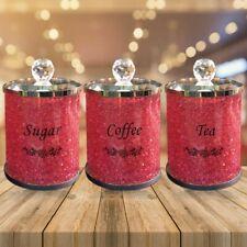 Diamond Crushed Tea Coffee Sugar CANISTERS Jars Storage Crystal SET OF 3 Pink