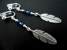 A PAIR OF  TIBETAN SILVER LONG DANGLY  FEATHER & CRYSTAL CLIP ON  EARRINGS. NEW.