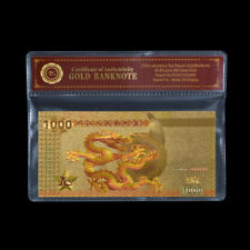 WR Colored Chinese Dragon Note RMB 1000 24k Gold Banknote Uncirculated +COA PACK