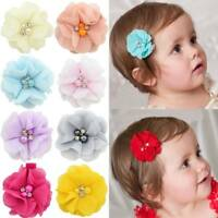 Lovely Baby Girls Mini Chiffon Flowers with Pearl Rhinestone Hairpins Barrettes~