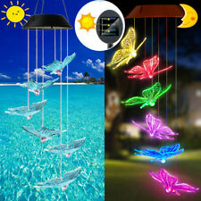 Color-Changing Solar Led Hanging Light Butterfly Wind Chimes Garden Outdoor Lamp