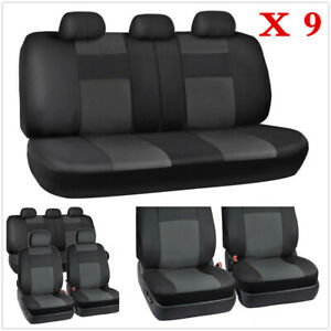 9X Car Seat Cover 5-Sits PU Leather Front Rear Set Universal Auto Accessories