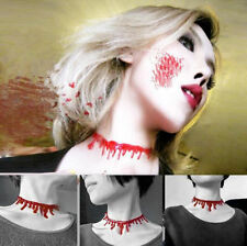 Halloween Red Blood Drip Plastic Chocker Necklace Gothic Fashion Jewellery LAD