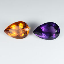 21.50 ct GLITTERING TOP LUSTROUS NATURAL AMETHYST & CITRINE - Pear  # 4638
