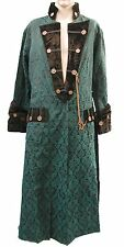 Heavy Gothic Steampunk Raven Pirate Jacket in green woven fabric M rps6cm
