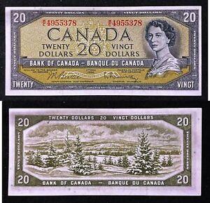 Canada - 1954 Bank of Canada $20 Dollars P80b Banknote aUNC Condition