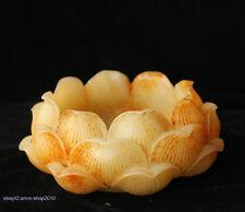 16cm China Natural Old Jade hand carved lotus incense burner Sculpture AIQO