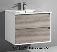 Polyurethane Gloss Frame and timberlooking Vanity with ceramic basin 750mm