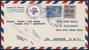 1931 Panama First Flight Cover US Navy Submarine Base Coco Solo Canal Zone